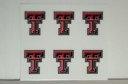 6 Texas Tech Red Raiders - 1.25 - Diy Stickers Decal Shot Glass, Cell Phone