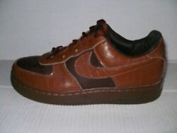 Nike Men's Brown Croc Print Leather Af1's Sneakers Size 8.5 M 304292-6736