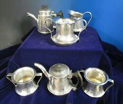 Arts And Crafts Hammered Silverplate Tea Pots Creamer Sugar And Waste Bowls Unusual