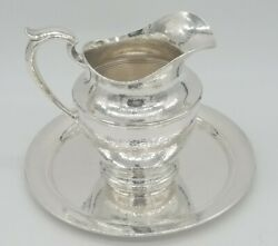 Gorham / Durgin Arts And Crafts Style Hand Hammered Pitcher And Tray