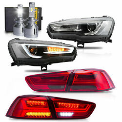 Free Shipping To Pr For 08-17 Lancer Headlights+red Clear Taillights+h7 Bulbs