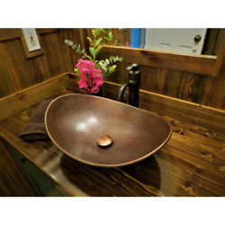 19 Inch Antique Copper Vessel Sink Handmade Mounting Hardware Rust Resistant New