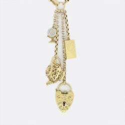 Gold Charm Necklace- Vintage 9ct Yellow Gold 'a Bird In The Hand' Charm Necklace