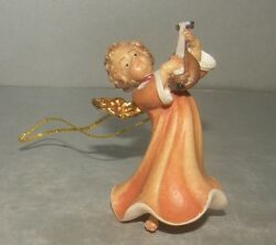 New Angel With Mandolin For Hanging, 10258-b , Wood Figurines Lepi, Italy
