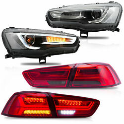 Customized Spray Lacquer Headlights+red Smoked Taillights For 2008-2017 Lancer