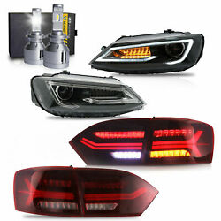 Led Headlights W/dual Beam+red Taillights+vland H7 Led Bulbs For 11-14 Vw Jetta
