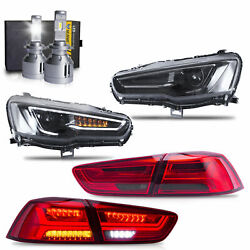 All Black Headlights+red Smoked Taillights+vland H7 Led Bulbs For 08-17 Lancer