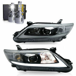 Led Headlights W/drl Sequential Turn Sig.+h7 Led Bulbs For 10-11 Toyota Camry