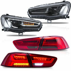 Free Shipping To Pr For 08-17 Lancer All Black Headlights+red Smoked Taillights