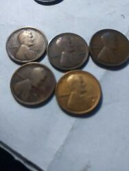 1915-s 5 Pieces Lincoln Wheat Cents From Penny Good Very Good
