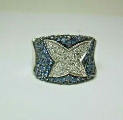 Beautiful Ladies 14k White Gold Diamond And Sapphire Cluster Ring Size 7 8.7g