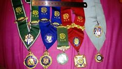 Vintage Masonic Raob Set Of All Degrees Collarettes With Jewels And Breast Jewel