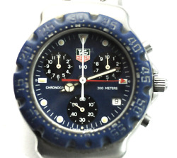 Tag Heuer Blue Dial And Bezel Ca1210 1/10 Chronograph 37mm Stainless Quartz