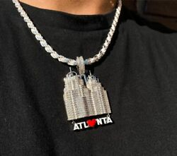 Menand039s 14k White Gold Plated Customized Atlanta City Hanging Pendant In Silver