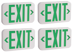 4-pack Green Ul Listed Emergency Led Exit Sign Battery Backup
