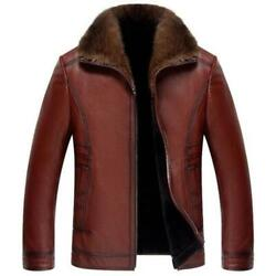 Mens Cashmere Lined Work Lapel Zip Casual Real Leather Business Formal Jackets L