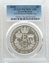 2018 Four Generations Of Royalty Andpound5 Five Pound Silver Proof Coin Pcgs Pr70 Dcam