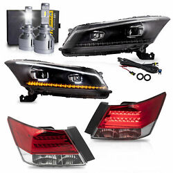 Led Headlights+red Clear Taillights+vland D2s Led Bulbs For 08-12 Honda Accord
