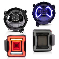 Customized Led Headlights+ Smoekd Taillights For For 18-20 Jeep Wrangler