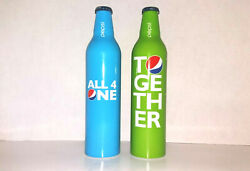 2 Pepsi Cola Aluminum Bottles Wordplay Unopened Blue All 4 One Green Together