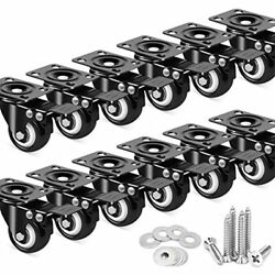 12 Pack Inch Caster Wheels With Dual Locking, Heavy Duty Cart Workbench Casters,