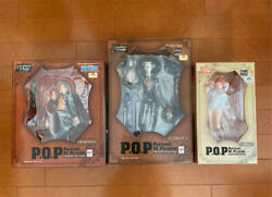 Megahouse One Piece Pvc Figure Ace, Nami, Brook P.o.p Series Strong Edition