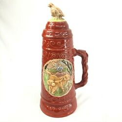 Vintage Holland Hunting Beer Stein Yellow Labs Quail On Top 12 Tall, 14 Around