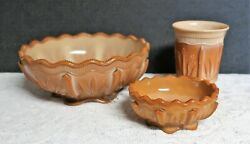 Lot 3 Fenton Cactus Master Berry Bowls And Tumbler Chocolate Glass