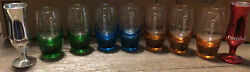 Collector Carnival Cruise Line Set Of 9 Mixed Etched Shot Glasses Wine Glass