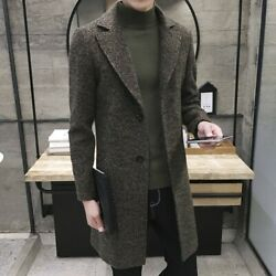 Menand039s Lapel Trench Coat Woolen Jacket Single Breasted Overcoat Business Outwear