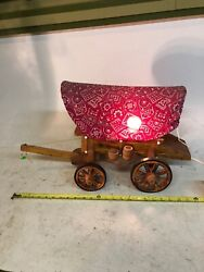 """24"""" Large Vintage Wooden Western Covered Wagon Stagecoach Night Light Lamp Works"""