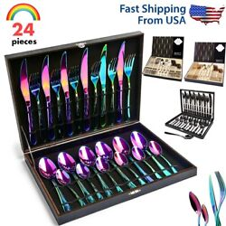 24pcs Silverware Set Stainless Steel Flatware Kitchen Cutlery Service For 6 Gift