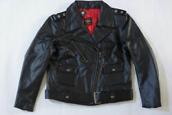 Museum Of Harley Davidson Women's Usa Made Cycle Queen Black Leather Jacket L Xl