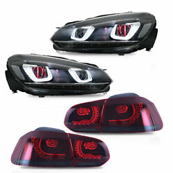 Led Headlight W/demon Eyes+smoked Red Taillight For 10-13 Golf Mk6 12-13 R