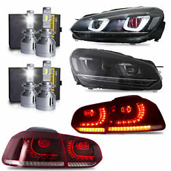 Led Headlights+redtaillights+h7+d2s Led Bulb For 10-13 Golf Mk6 12-13 Golf R