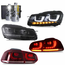 Free Shipping To Pr For 10-13 Golf Mk6 Gti R Headlights+red Taillights+h7 Bulbs