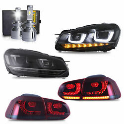 Free Shipping To Pr For Golf Mk6 Gti R Headlights+red Smoke Taillights+h7 Bulbs