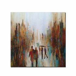 Wall Art People Walking In The Rain Art Painting Hand Painted Oil Pani On Canvas
