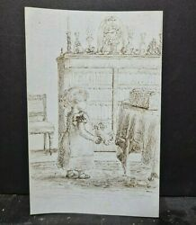Charming Young Girl 1880 Blue Pen And Ink Sketch Childhood