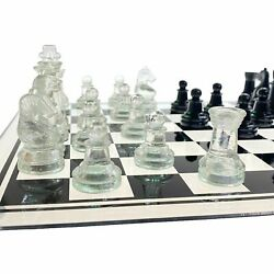 Elegant Shatterproof Clear Glass Chess Pieces For 35cm Folding Quality Chess Set