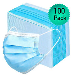 100pk Disposable Face Mask Adult Covers Mouth And Nose 3 Ply Ear Loop Usa Seller