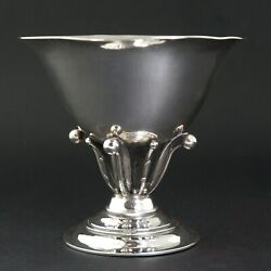 1930s Georg Jensen Blossom Sterling Silver Footed Bowl 17a