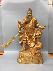 25.6 Chinese Antique Old Dynasty Bronze 24k Gilt Guan Yu Statue