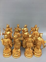 9 Chinese Antique Old Dynasty Bronze 24k Gilt 1 Set Chinese Zodiac Statue