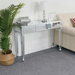 Mirrored Console Table Sofa Vanity Table with 3 Drawers Entryway Table