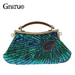 Vintage Women#x27;s Clutches Evening Bags with handle Peacock Pattern Sequins Beaded $45.49