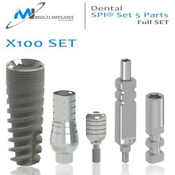100 Dental Spi® Full Set 5 Parts And St Abutment + Healing Cap And Transfer And Analog