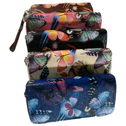 New fashion butterfly double zipper clutch multicolor wristlet wallet purse $10.99