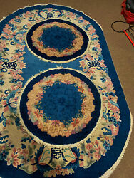 3 Antique Hand Made Chinese Sky Blue Color Rug 5x7ft And 2 Round 2and0396