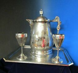 Antique Ice Water Pitcher Tray And Goblets Engraved Elk Rogers Smith 1868-1871